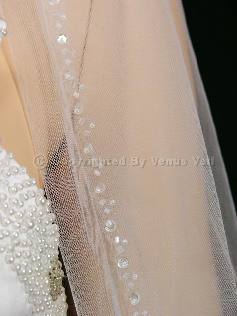 1T White Cathedral Beaded Edge Bridal Wedding Veil