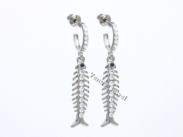 Silver tone half hoop dangle fish bone rhinestone crystal for Fish bone earrings