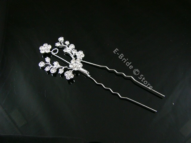 2 Pcs Handmade Bridal Wedding Prom Crystal Rhinestone Hair