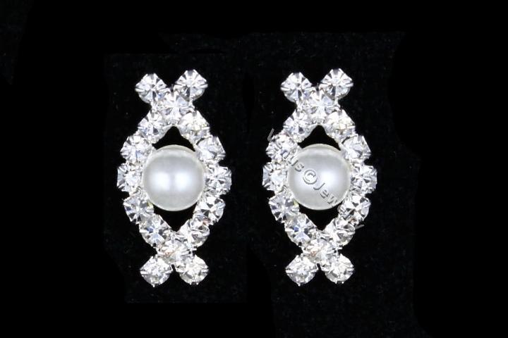 Bridal Wedding Prom Rhinestone Crystal Pearl Necklace Earrings set
