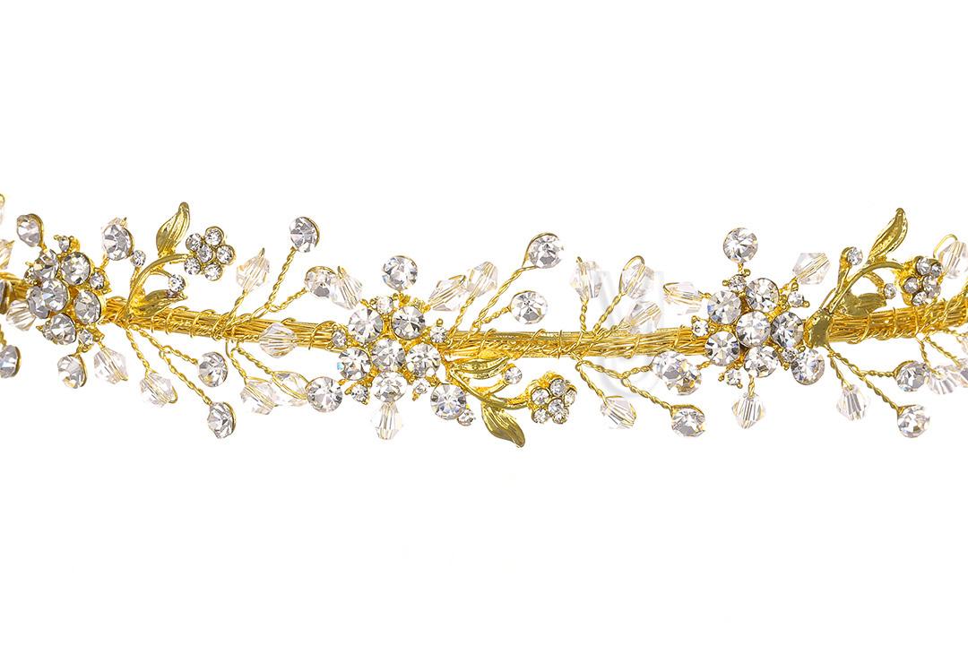 Gold Bridal Flower Rhinestone Crystal Prom Wedding