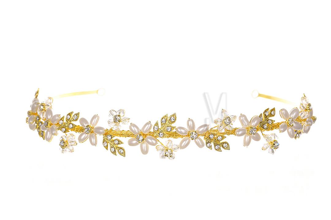 Gold Bridal Rhinestone Crystal Pearls Flower Wedding