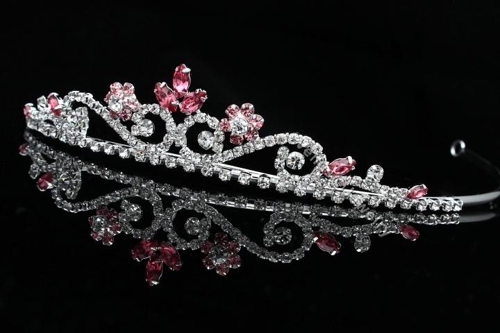 Bridal Flower Pink Rhinestones Crystal Prom Wedding Crown