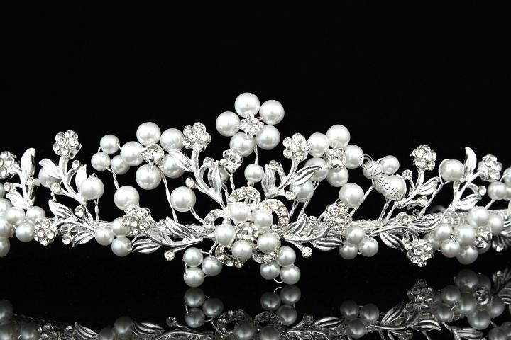 Bridal Wedding Rhinestone Crystal Faux Pearl Flower Prom Crown Tiara