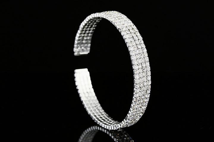 Sparkling 4 Rows Bridal Wedding Rhinestone Crystal Cuff