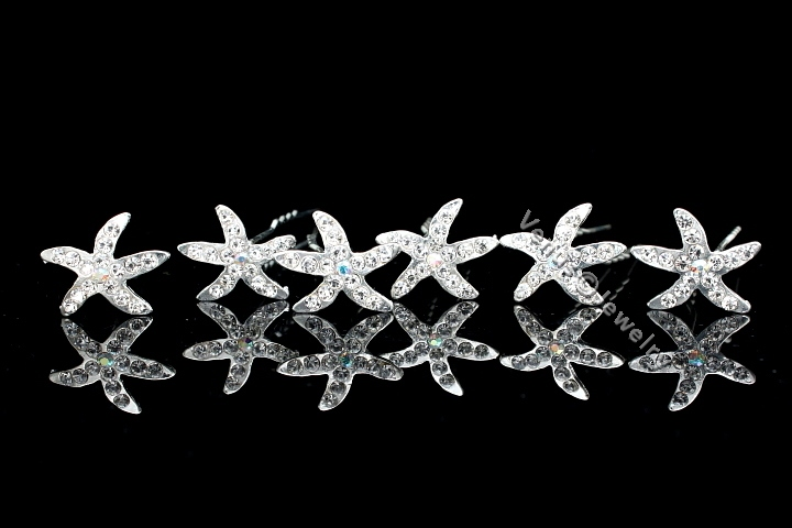 Bridal Party Wedding Prom Starfish Crystal Hair Pins