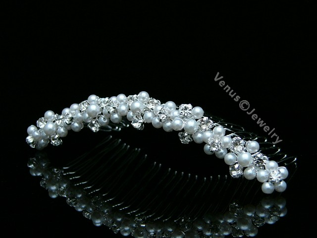 Handmade Bridal Wedding Rhinestone Crystal Pearls Tiara