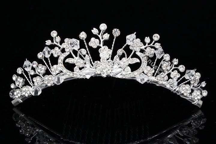 Lovely Floral Bridal Rhinestone Crystal Prom Wedding Tiara